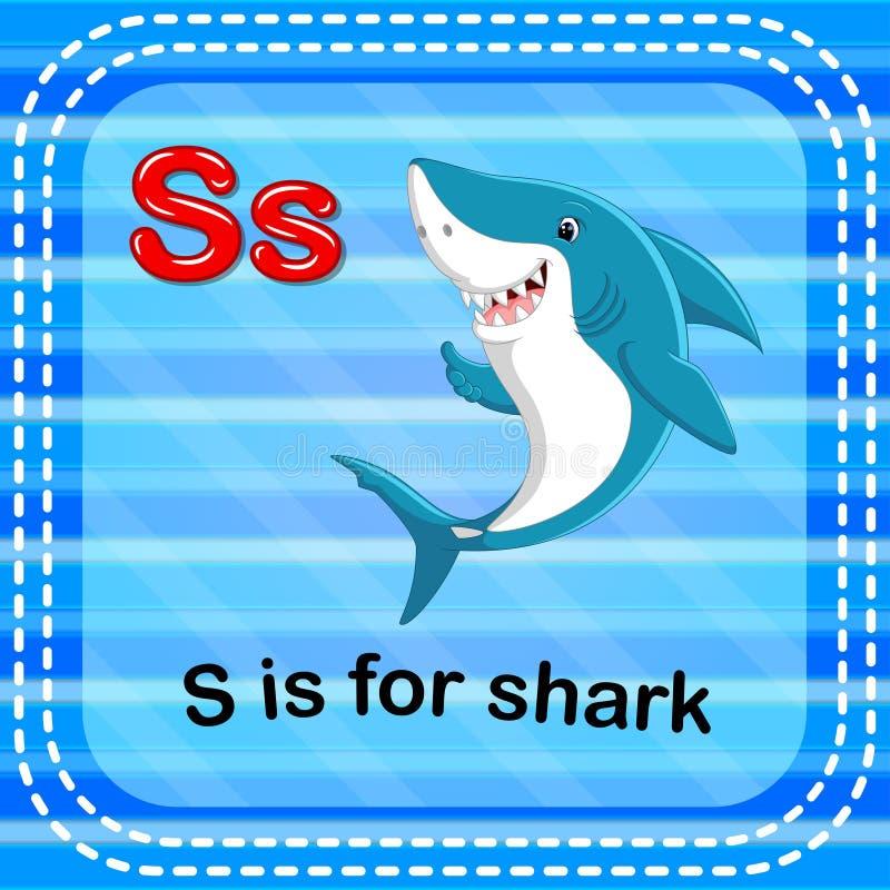 Flashcard bokstav S är för haj royaltyfri illustrationer