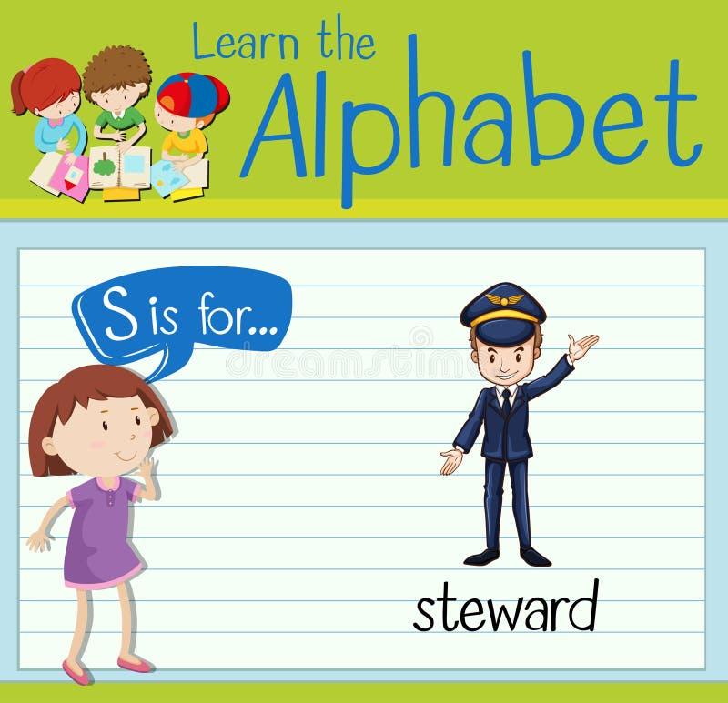 Flashcard bokstav S är för marskalk stock illustrationer