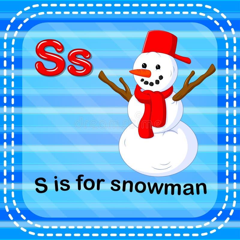 Flashcard bokstav S är för snögubbe royaltyfri illustrationer