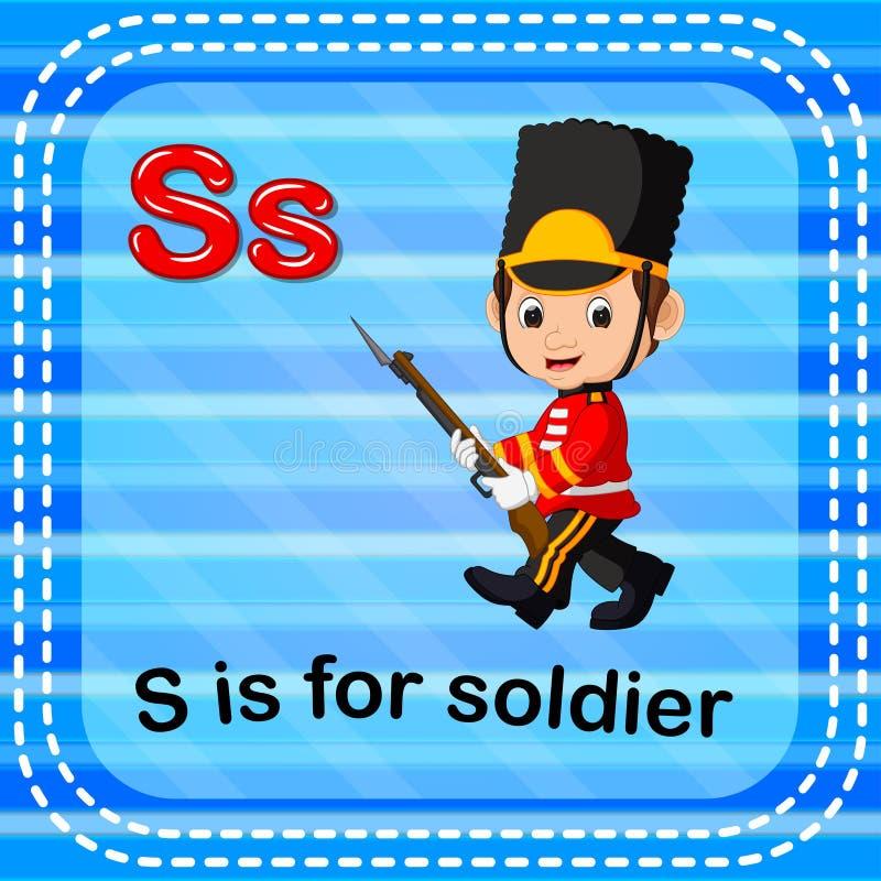 Flashcard bokstav S är för soldat vektor illustrationer