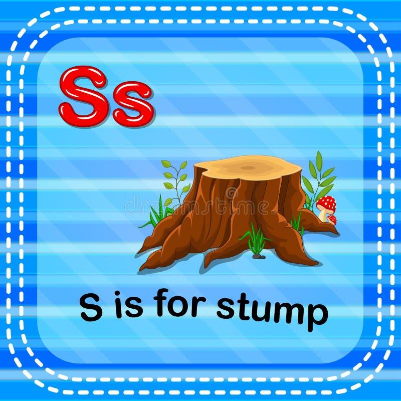Flashcard bokstav S är för stubbe royaltyfri illustrationer