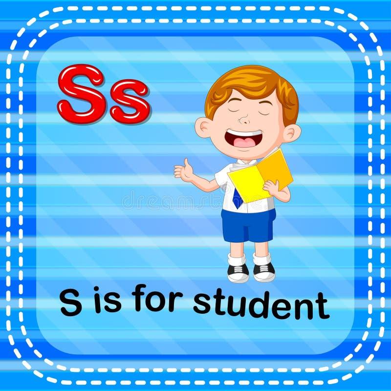 Flashcard bokstav S är för student vektor illustrationer
