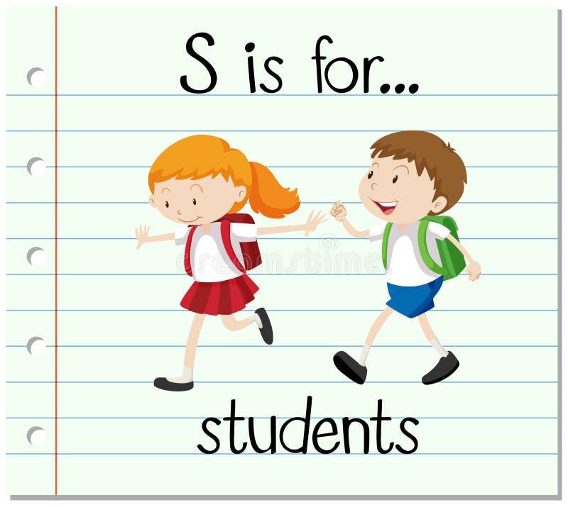 Flashcard bokstav S är för studenter stock illustrationer