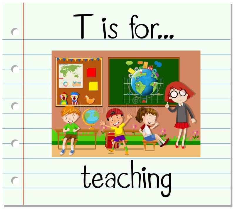 Flashcard bokstav T är för att undervisa stock illustrationer