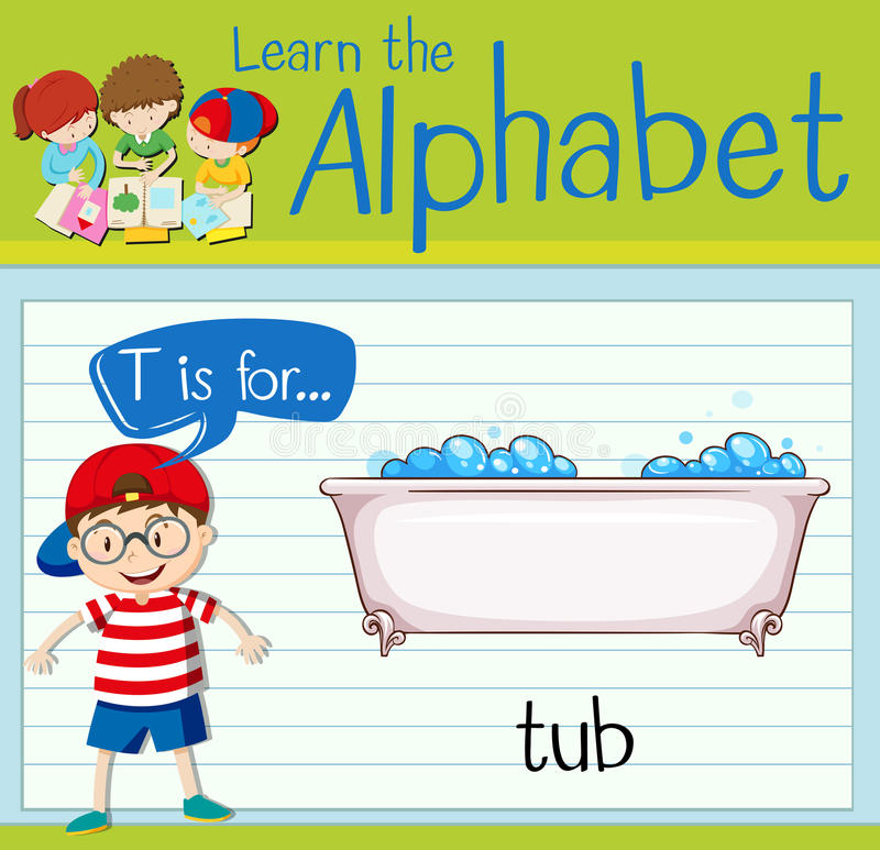 Flashcard bokstav T är för badar vektor illustrationer