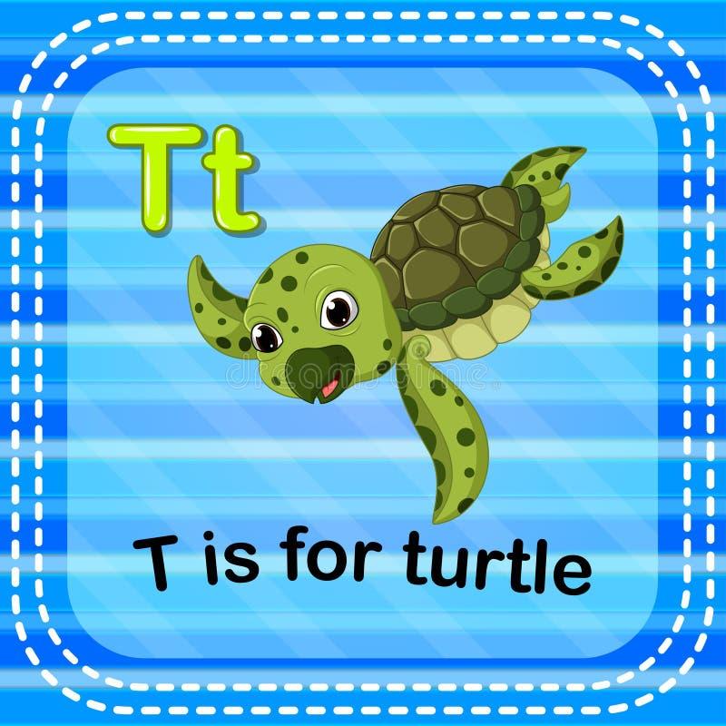 Flashcard bokstav T är för sköldpadda royaltyfri illustrationer