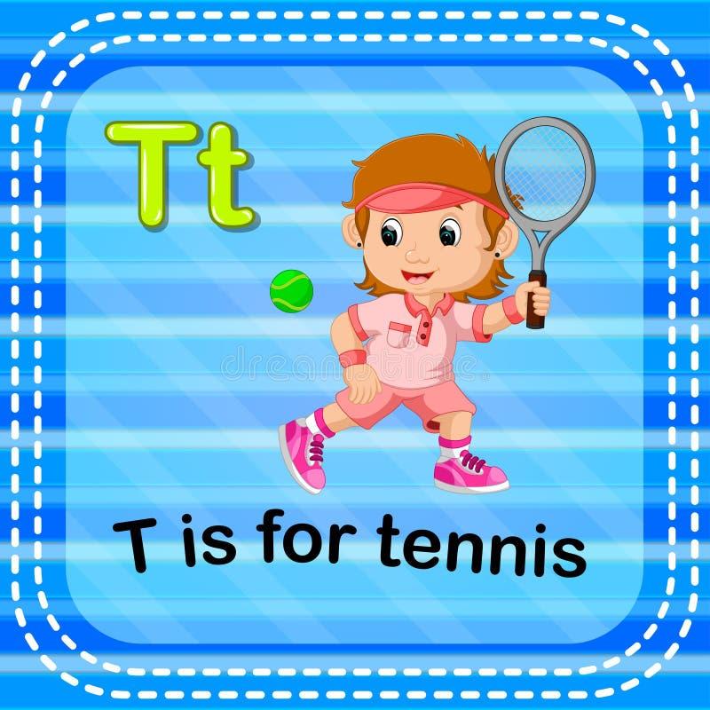 Flashcard bokstav T är för tennis stock illustrationer