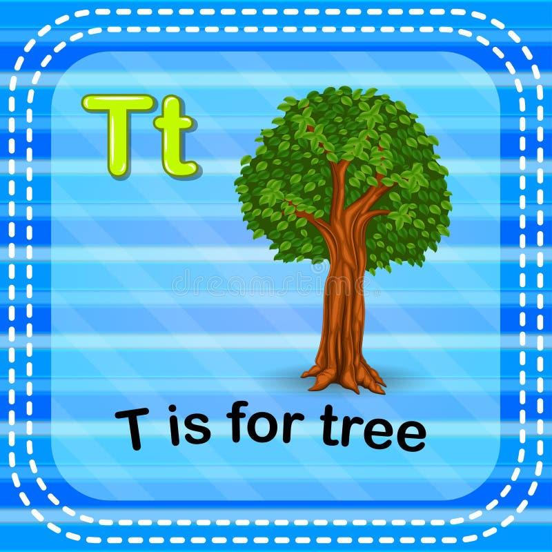 Flashcard bokstav T är för träd royaltyfri illustrationer