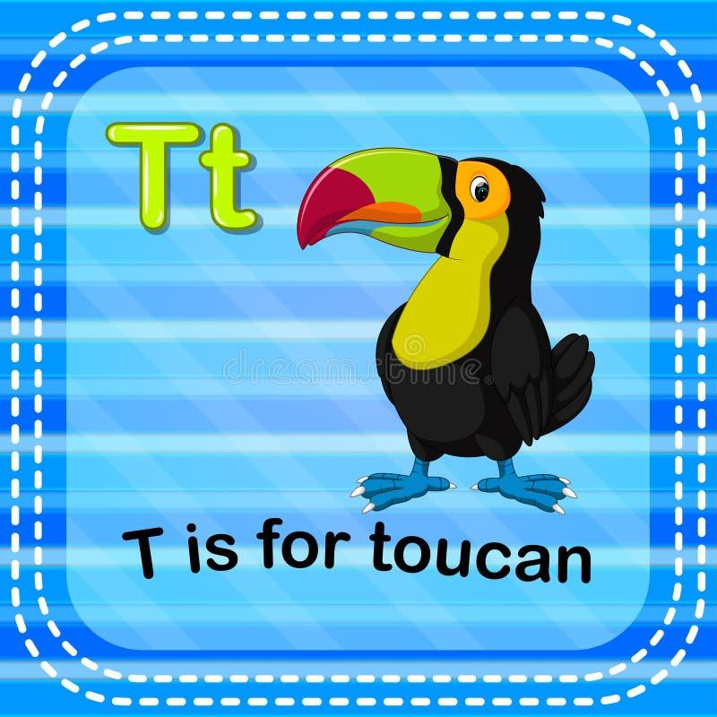 Flashcard bokstav T är för tukan vektor illustrationer