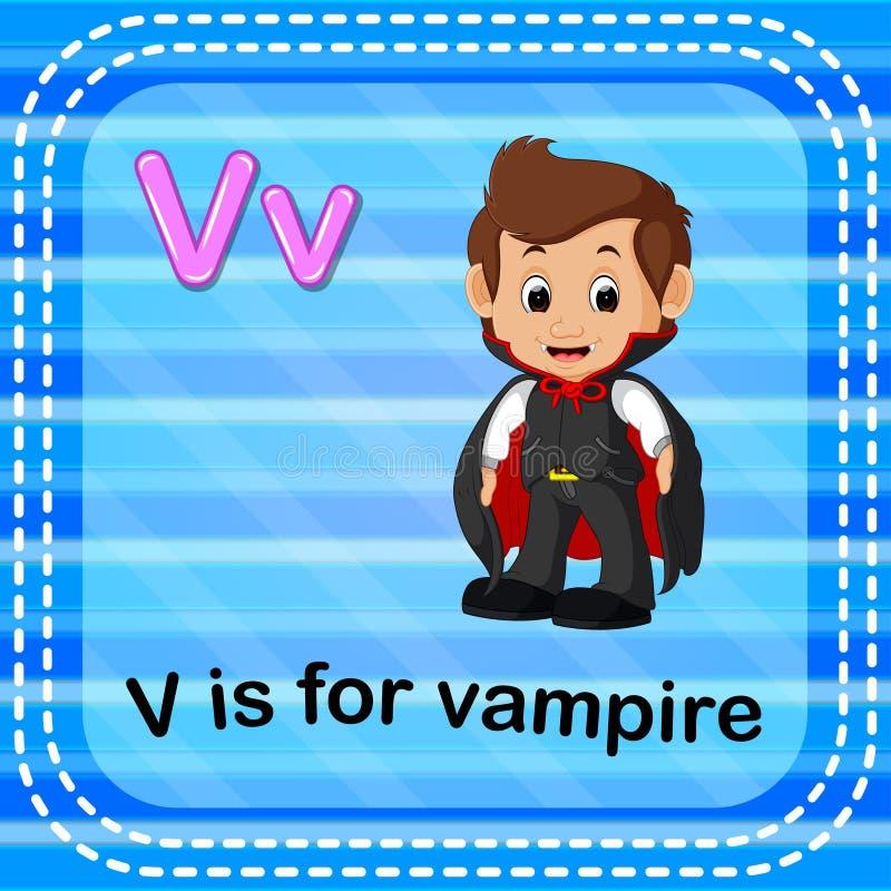 Flashcard bokstav V är för vampyr royaltyfri illustrationer
