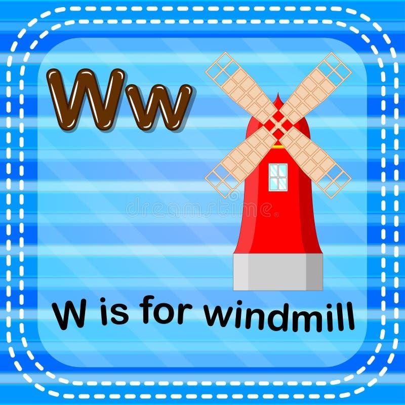 Flashcard bokstav W är för väderkvarn royaltyfri illustrationer
