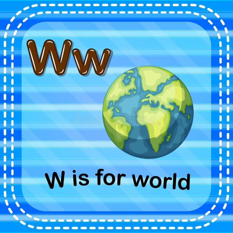 Flashcard bokstav W är för värld stock illustrationer