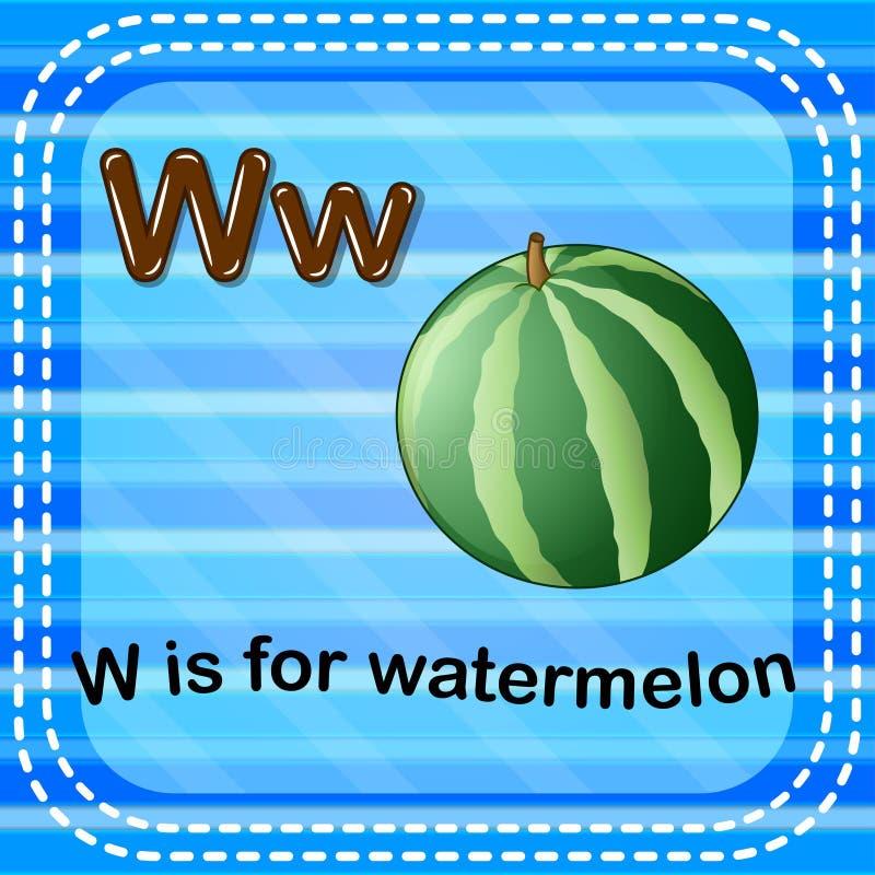 Flashcard bokstav W är för vattenmelon royaltyfri illustrationer