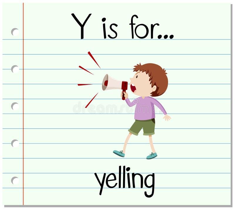 Flashcard bokstav Y är för att skrika royaltyfri illustrationer