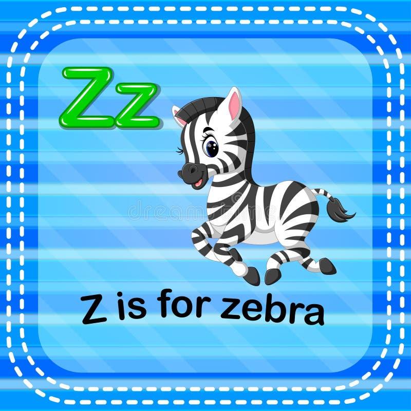 Flashcard bokstav Z är för sebra stock illustrationer