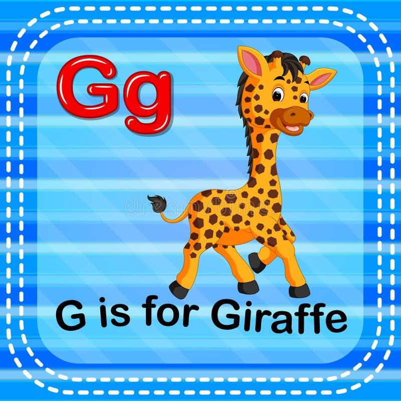 Flashcard bokstavsG är för giraff royaltyfri illustrationer