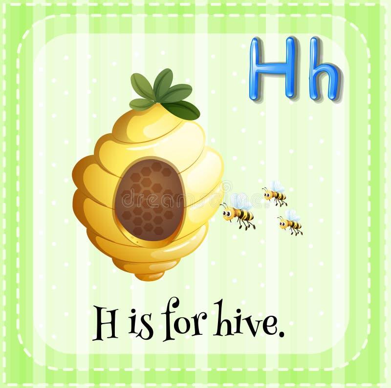Flashcard bokstavsH är för bikupa stock illustrationer