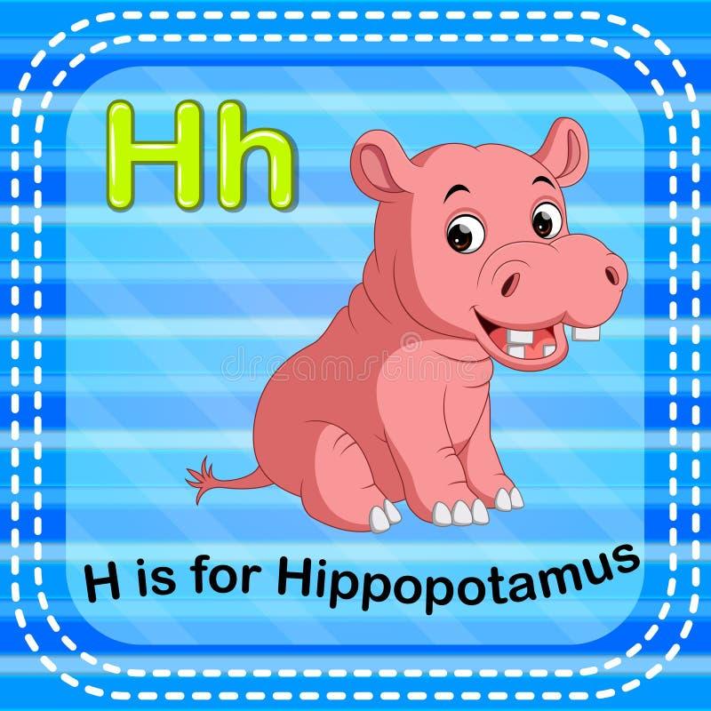 Flashcard bokstavsH är för flodhäst stock illustrationer