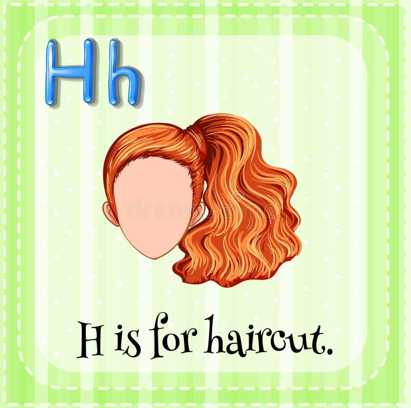 Flashcard bokstavsH är för frisyr stock illustrationer