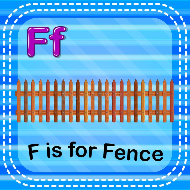 Flashcard-Buchstabe F ist für Zaun stock abbildung