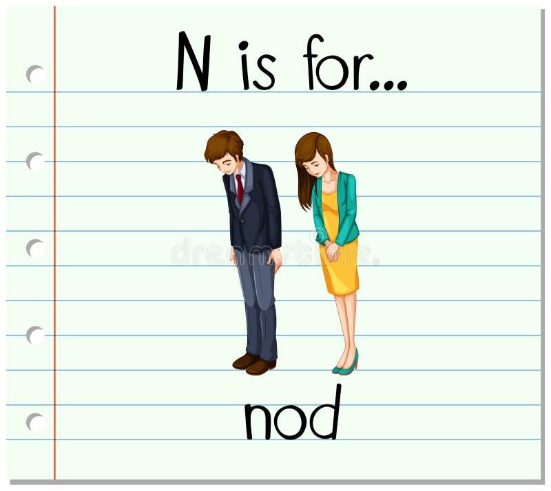 Flashcard-Buchstabe N ist für Kopfnicken vektor abbildung