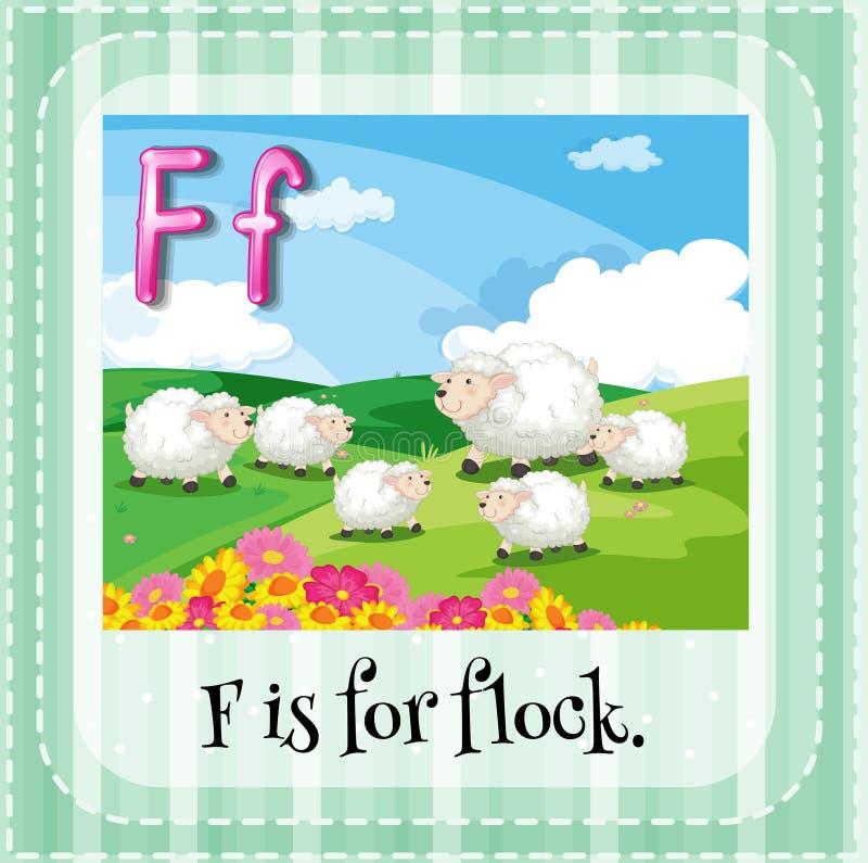 Flashcard della lettera F illustrazione di stock