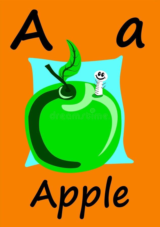 Flashcard di alfabeto La lettera, A è per Apple illustrazione vettoriale