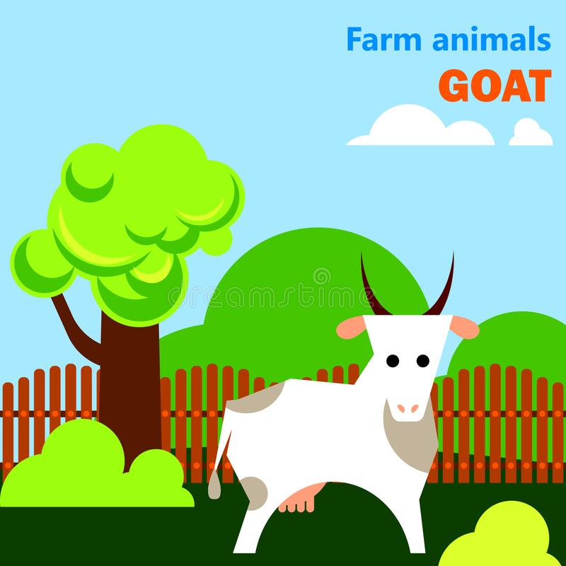 Flashcard educativo con la capra sull'azienda agricola illustrazione vettoriale