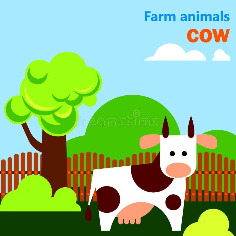 Flashcard educativo con la mucca sull'azienda agricola illustrazione di stock