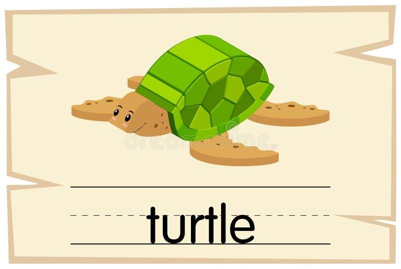 Flashcard för ordsköldpadda vektor illustrationer
