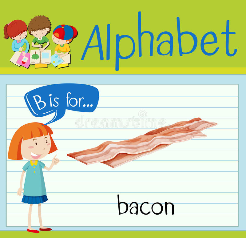 Flashcard letter B is for bacon vector illustration