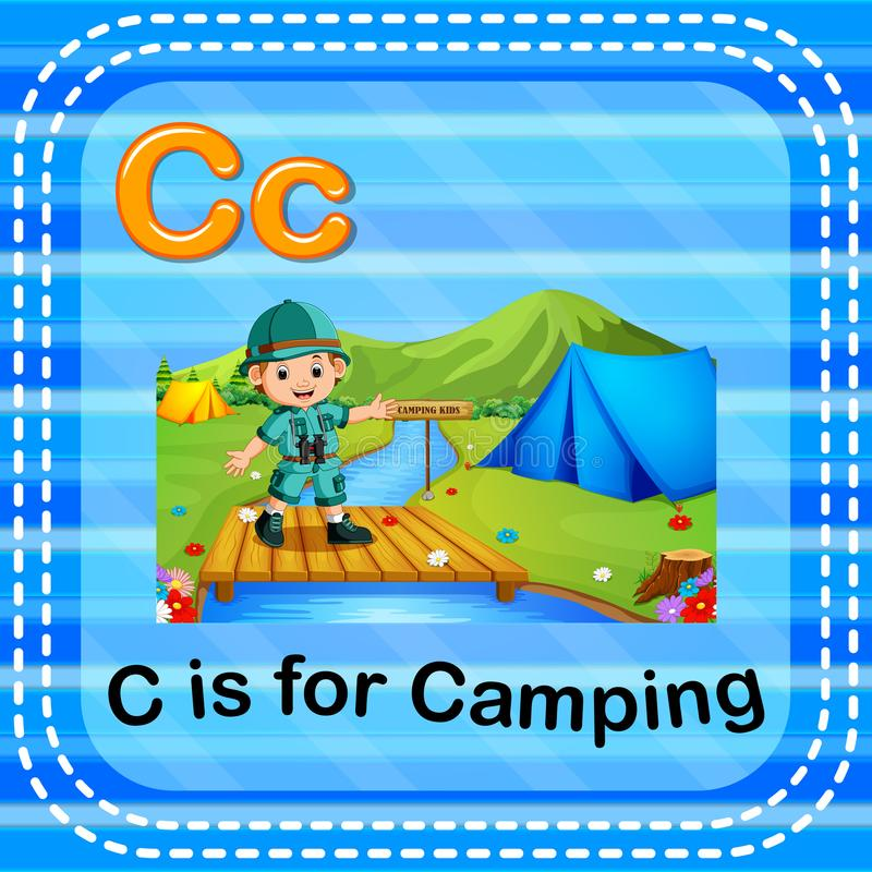 Flashcard letter C is for camping. Illustration of Flashcard letter C is for camping stock illustration