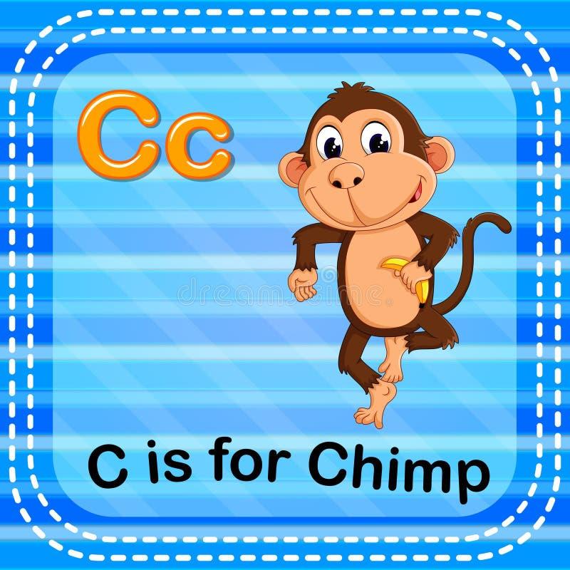 Flashcard letter C is for chimp. Illustration of Flashcard letter C is for chimp royalty free illustration