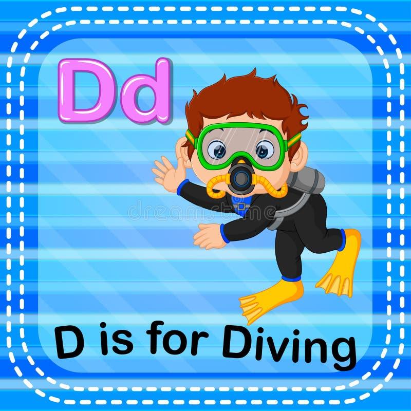 Flashcard letter D is for diving. Illustration of Flashcard letter D is for diving vector illustration