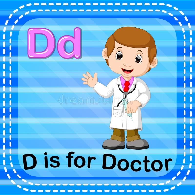 Flashcard letter D is for doctor. Illustration of Flashcard letter D is for doctor stock illustration
