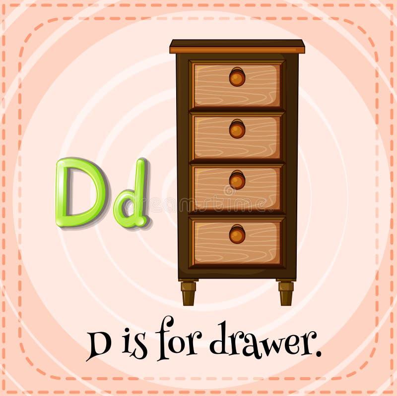 Flashcard letter D is for drawer. Illustration vector illustration
