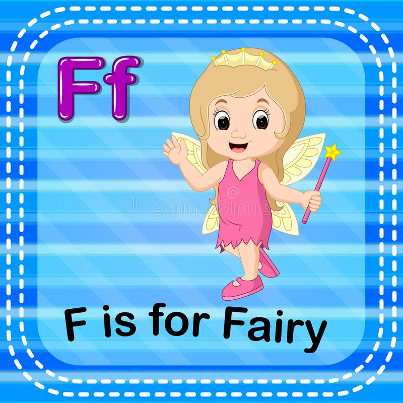 Flashcard letter F is for fairy. Illustration of Flashcard letter F is for fairy vector illustration