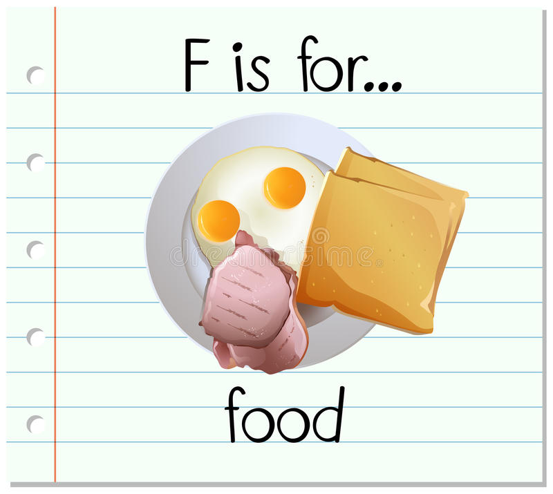 Flashcard letter F is for food stock illustration