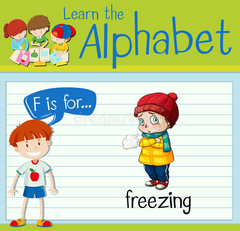 Flashcard letter F is for freezing. Illustration royalty free illustration
