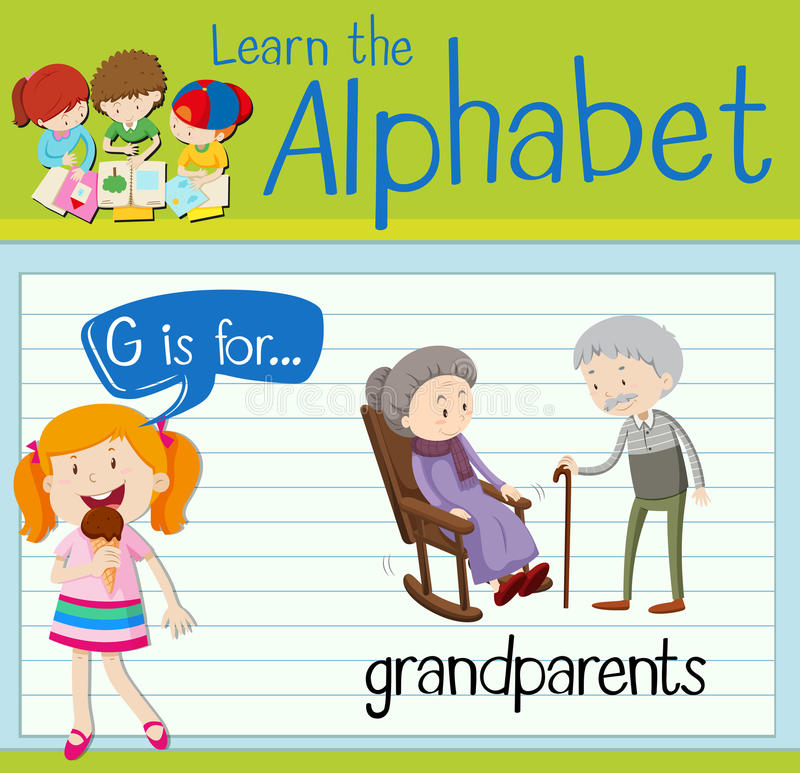 Flashcard letter G is for grandparents. Illustration vector illustration