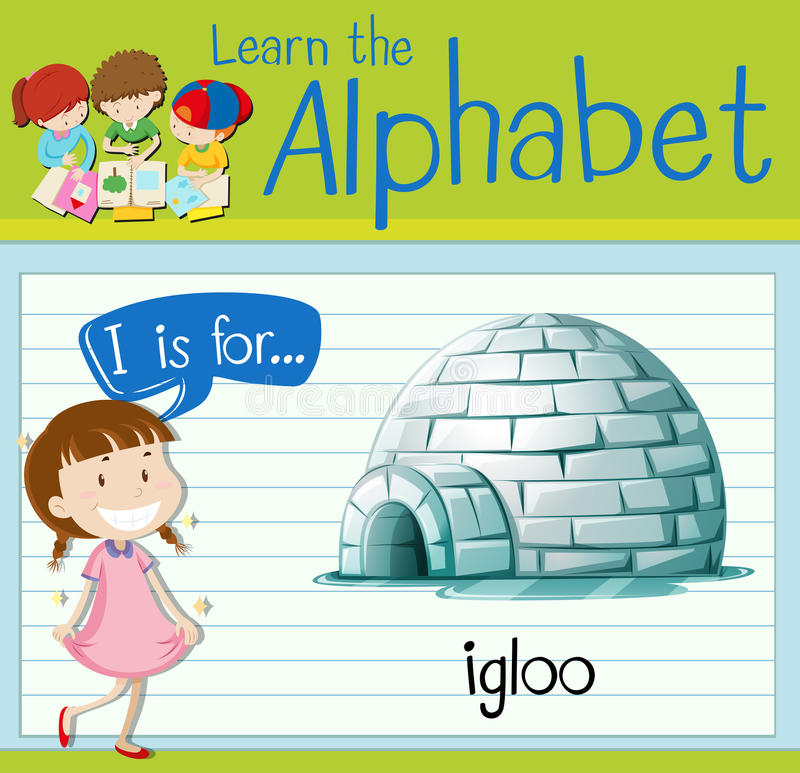 Flashcard letter I is for igloo stock illustration