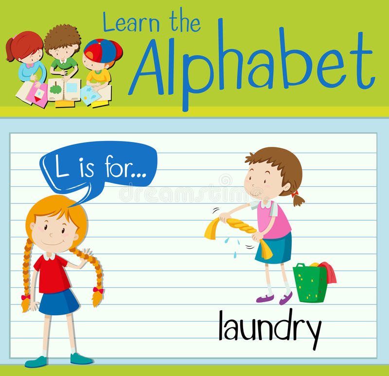 Flashcard letter L is for laundry. Illustration stock illustration