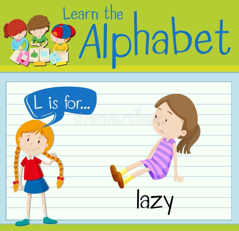 Flashcard letter L is for lazy. Illustration stock illustration