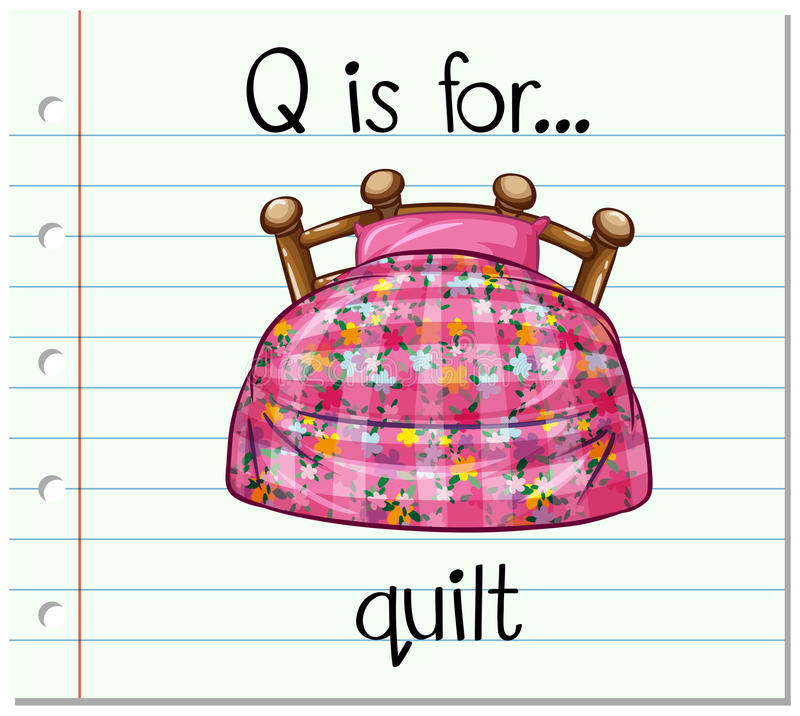 Flashcard letter Q is for quilt vector illustration