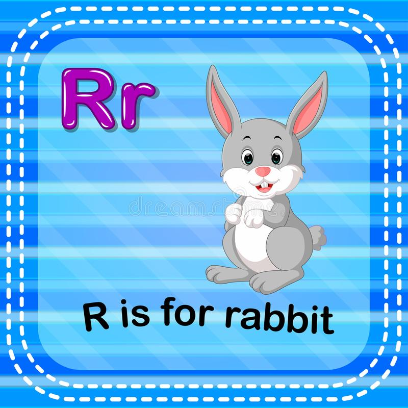 Flashcard letter R is for rabbit royalty free illustration