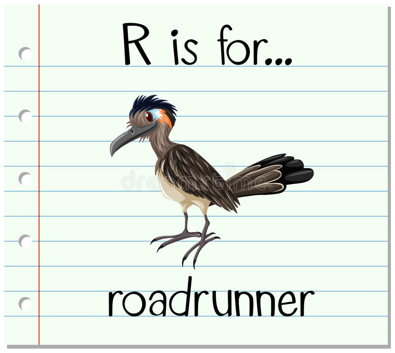 Flashcard letter R is for roadrunner. Illustration royalty free illustration