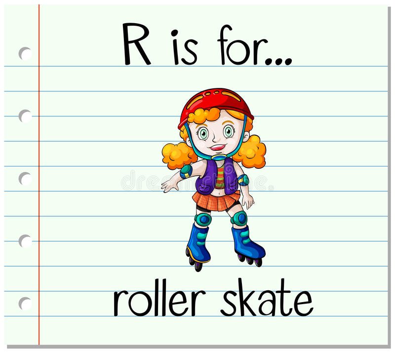 Flashcard letter R is for roller skate royalty free illustration