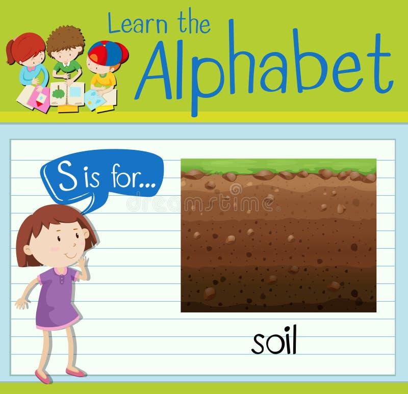Flashcard letter S is for soil. Illustration royalty free illustration