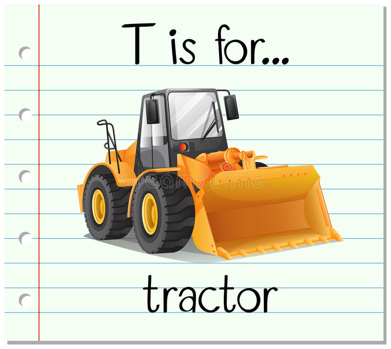 Flashcard letter T is for tractor royalty free illustration