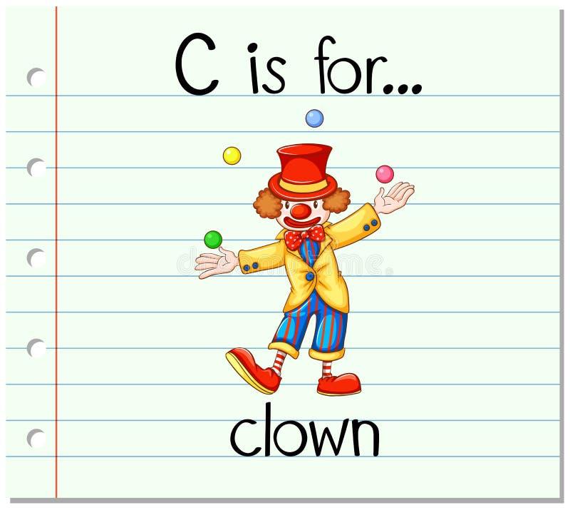 Flashcard list C jest dla błazenu ilustracji